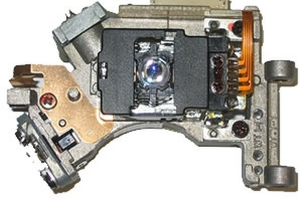 The laser assembly is at an angle on the top left of the DVD-RW laser housing.