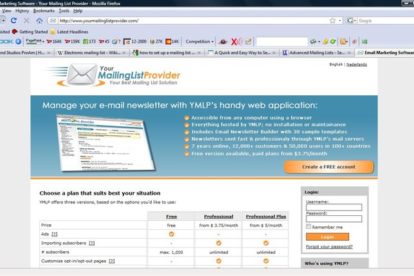 Screen Shot of YourMailingListProvider's Web Site