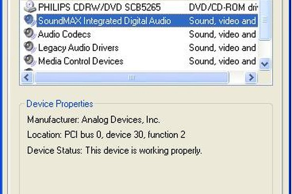 "View of the ""Sounds and Audio Devices"" window with the sound card highlighted in blue."