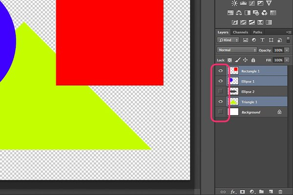 Merge visible layers into one layer in Photoshop.