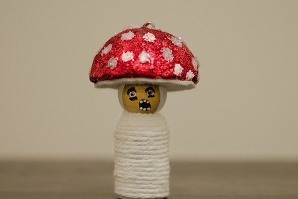 Zombie mushroom peg person. Cute Halloween decoration.