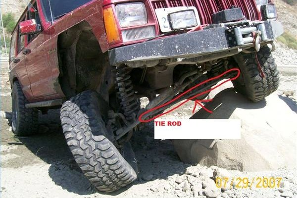 The tie rod ends must be loosened. The tie rod is circled in red here.