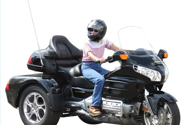 Three-wheeled Honda Goldwing with windscreen