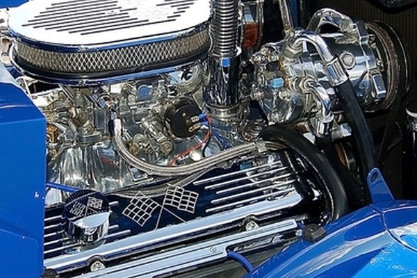 Brightly polished chrome adds to the visual impact of a car engine.