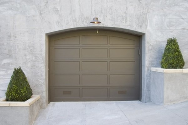 Garage door fitted with remote opener