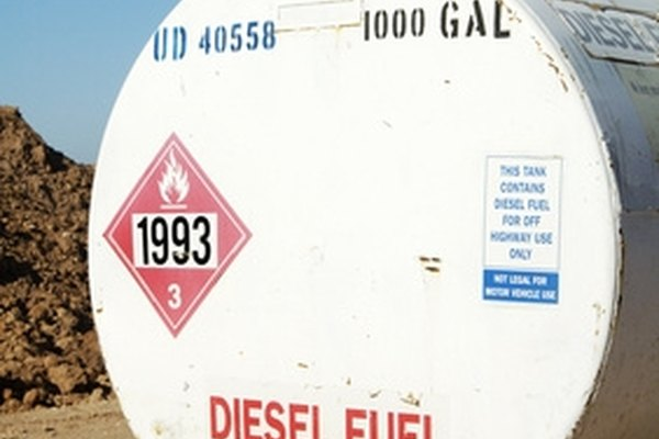 Warning signs clearly label diesel storage tanks.
