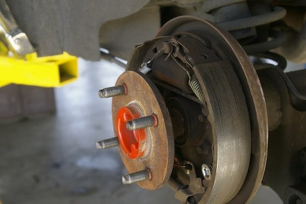 Drum brakes are often found on the rear wheels.