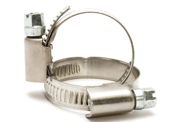 A hose clamp secures a hose over a fitting.