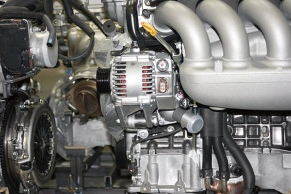 The alternator, seen in the center, is responsible for a car's electrical functioning.