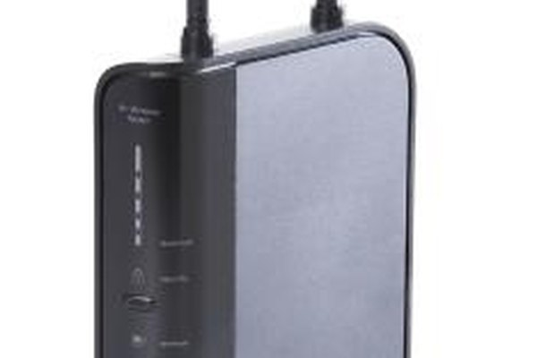 A router transmits Internet signals to a computer network.