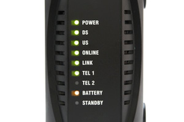 A cable modem showing a strong signal.