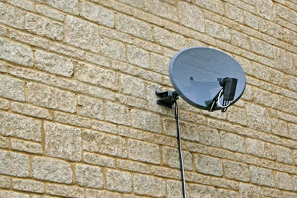 Bell ExpressVu dishes can be mounted on the side of a building, or on the roof.