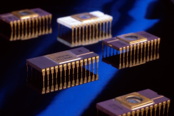 Operational amplifier integrated circuits come in an 8-pin package similar to these microchips.