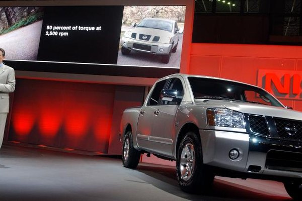 The Nissan Titan Is At An Auto Show.