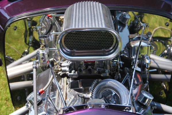 A hot rod car's engine.