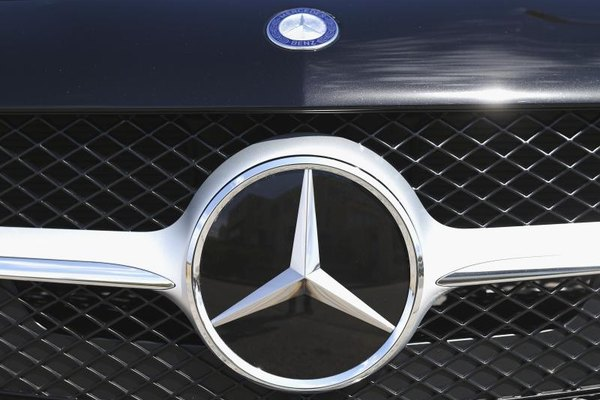 Grille and logo of a Mercedes Benz vehicle