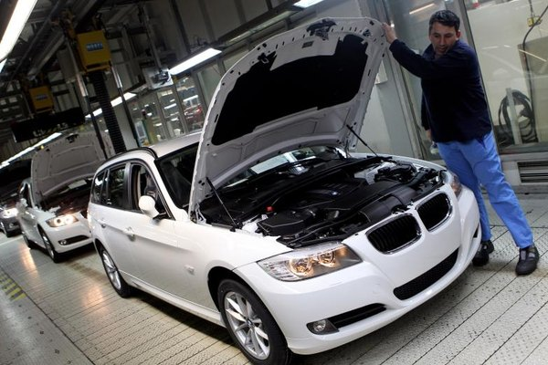A BMW is being assembled.