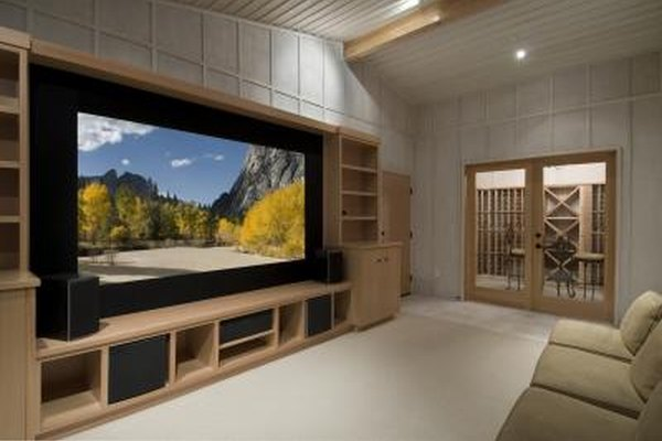 A modern home theater system with a large TV
