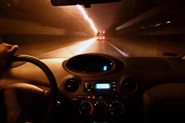 Driving a Toyota Echo at night