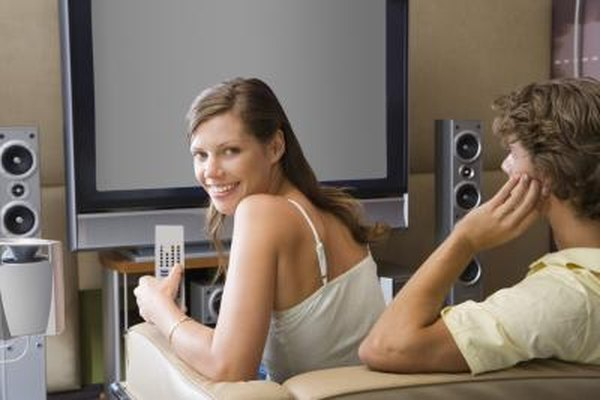 Surround sound speakers include center, side and rear channels with a subwoofer.