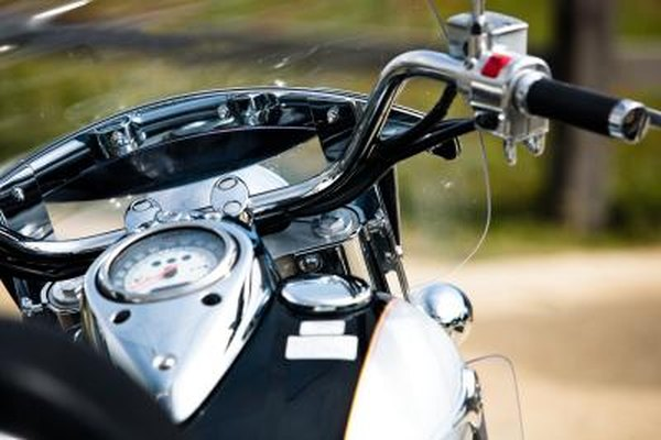 Motorcycle clutch handles are located on the handle bars.