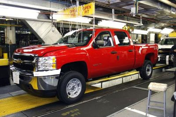 A Silverado coming off the assembly line.