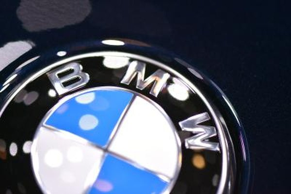 Close-up of a BMW insignia
