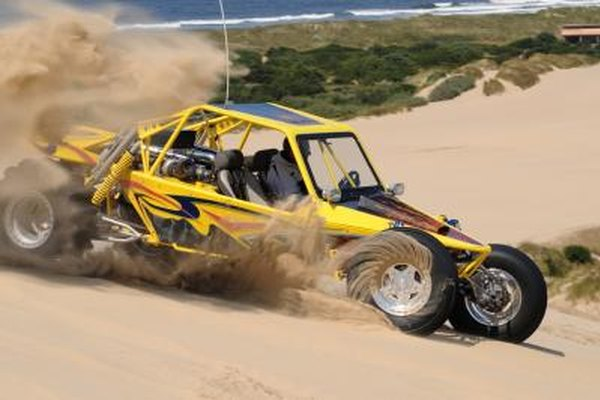 Yellow sand buggy with twin turbo V8 engine in Winchester Bay, Oregon
