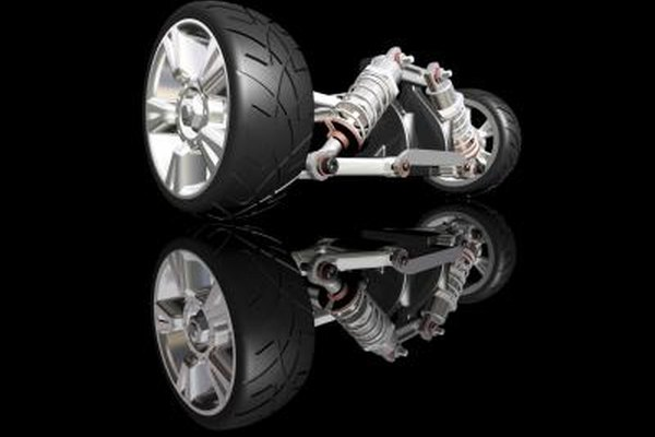 3D rendering of auto suspension system and wheels