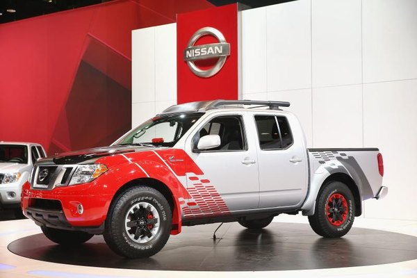 Custom diesel Nissan Frontier on display