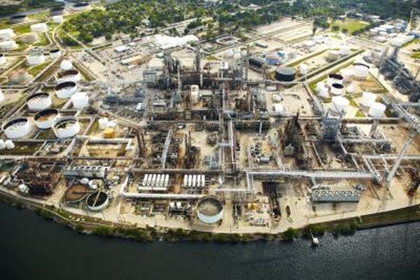 Fossil fuels such as oil in this refinery are among the major sources of global commercial energy.