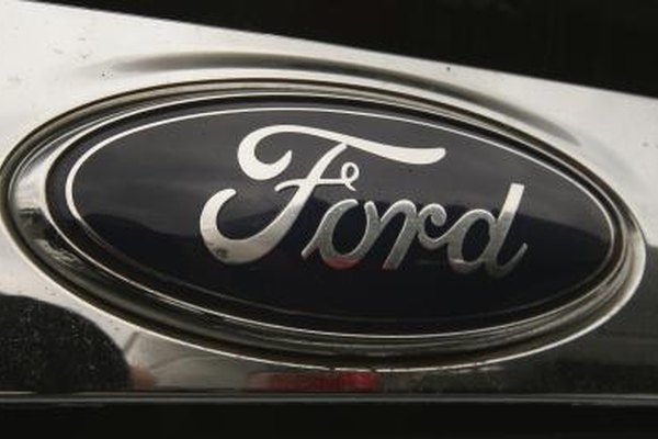 The Ford logo on the front of a truck.