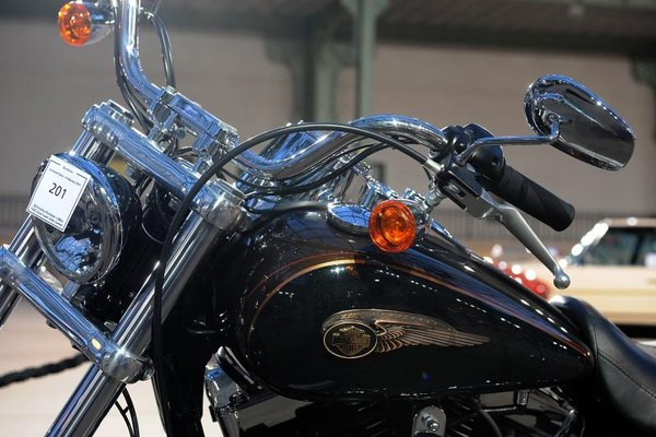Close-up of the handlebars on a Harley Davidson motorcycle