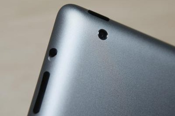 The iPad 2 has tiny cameras for photo and video capture.