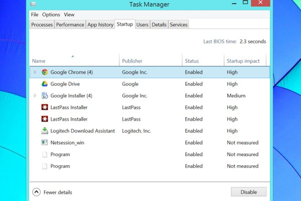 Control startup programs with the Task Manager on Windows 8.1