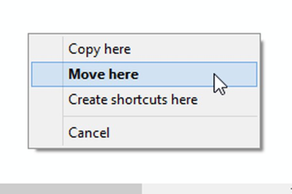 Right-click-and-drag pop-up menu in File Explorer on Windows 8