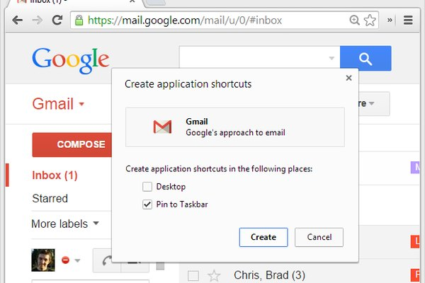 Pin Gmail web app to Windows taskbar in Google Chrome