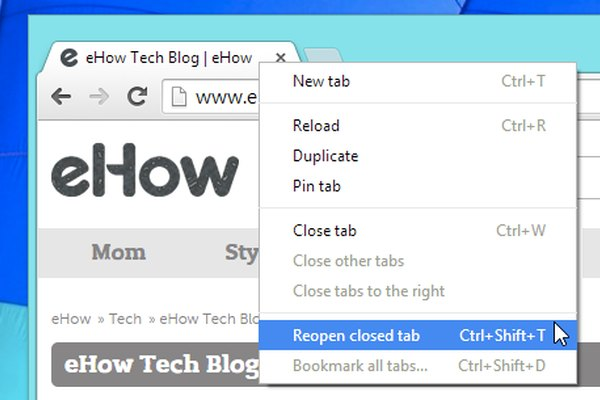 Reopen a closed browser tab in Google Chrome