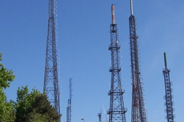 Towers like these are capable of broadcasting radio signals for many miles.