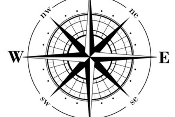 La rosa de los vientos identifica los puntos cardinales.