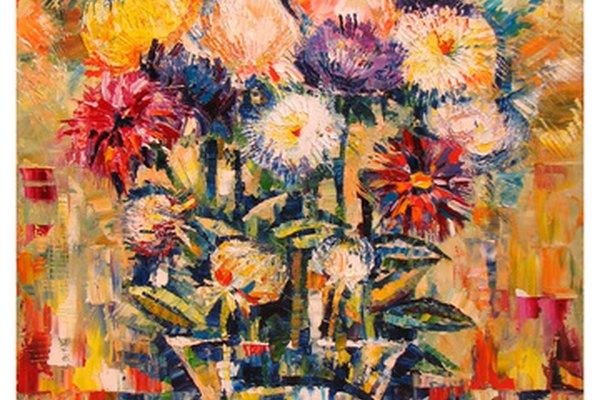Esta pintura al acrílico sobre lienzo retrata una visión abstracta de un jarrón de flores.