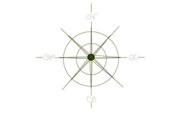 Los gráficos de la rosa de los vientos se colocan como la cara de la brújula.