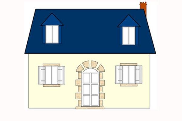 Una casa dibujada en una vista ortográfica.