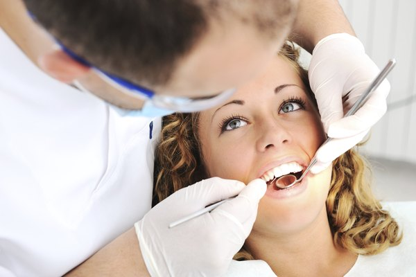 Dentist's teeth checkup with young female, series of related photos