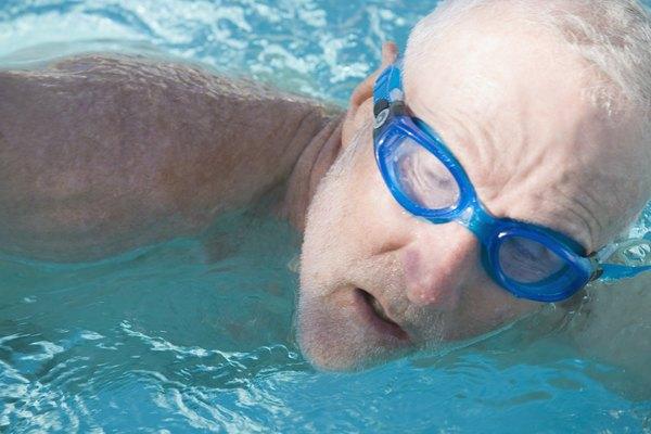 Senior man in a swimming pool