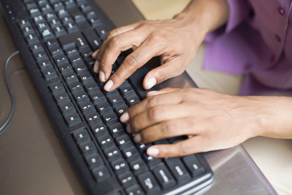 Woman using keyboard