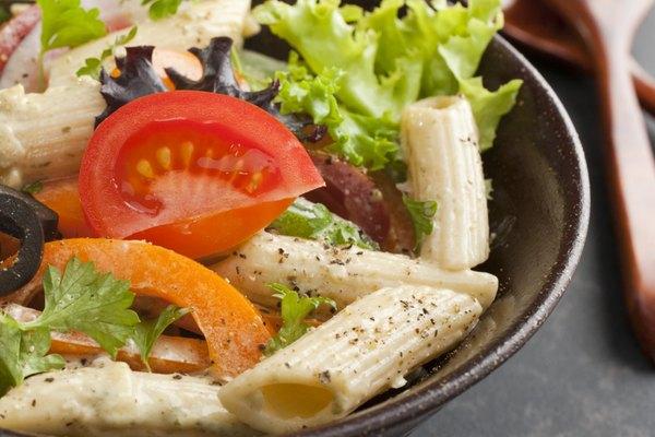 Pasta Salad on Dark Background