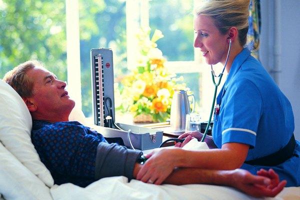 Nurse Taking Blood Pressure of Male Patient