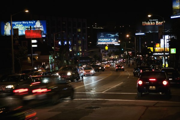 Traffic on Sunset Boulevard at night, Los Angeles, California, USA