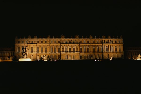 Louvre illuminated at night in Paris